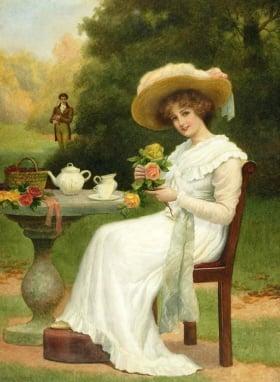 Una mujer tomando té en la época victoriana